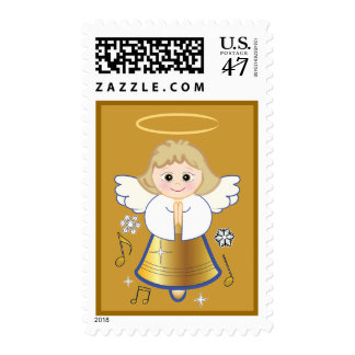 Non-Denominational Holiday Angel Bell Postage Stamp