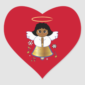 Non-Denominational Holiday Bell Angel Heart Sticker
