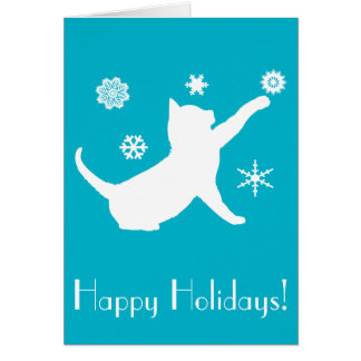 Non-Denominational Holiday Cat with Snowflakes Card