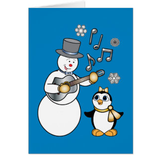 Non-Denominational Holidays Snowman and Penguin Card