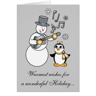 Non-Denominational Holidays Snowman and Penguin Greeting Card