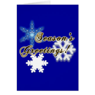 Non-Denominational Holidays with Snowflakes Blue Greeting Card