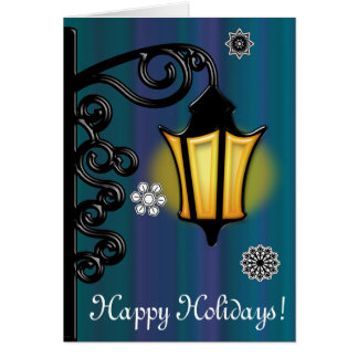 Non-Denominational Lamplight in the Snow:Holidays Greeting Card