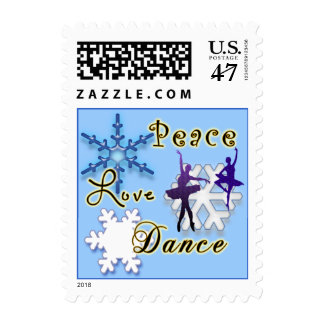 Non-Denominational Peace Love and Dance Snowflakes Stamp