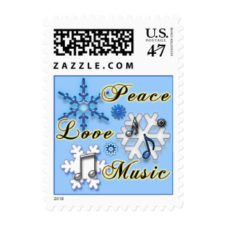 Non-Denominational Peace Love and Music Snowflakes Stamp