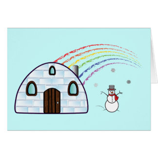 Non-Denominational Seasonal Igloo and Snowman Card