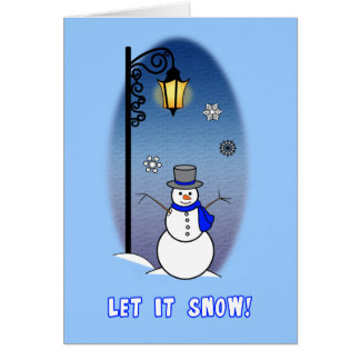 Non-Denominational Snowman and Lamppost Greeting Card