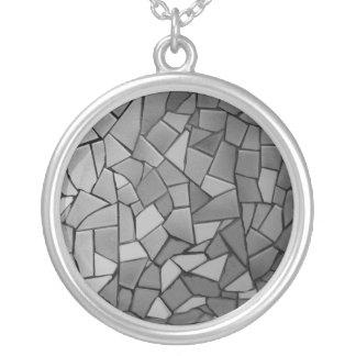 Non-figurative mosaic round pendant necklace