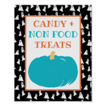 Non Food Treats Teal Pumpkin Halloween Allergy Poster