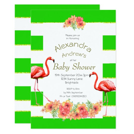 Non gender tropical green stripe baby shower invitation zazzle non gender tropical green stripe baby shower invitation filmwisefo