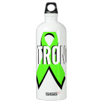 non-Hodgkin lymphoma lime green support STRONG Aluminum Water Bottle