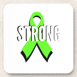 non-Hodgkin lymphoma lime green support STRONG Beverage Coaster