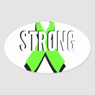 non-Hodgkin lymphoma lime green support STRONG Oval Sticker