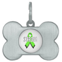 non-Hodgkin lymphoma lime green support STRONG Pet Name Tag