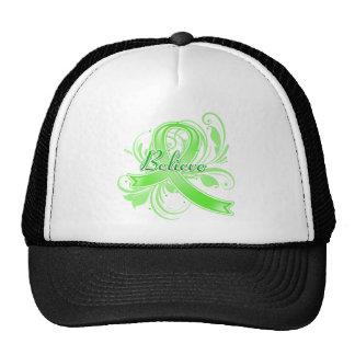 Non-Hodgkin's Lymphoma Believe Flourish Ribbon Mesh Hat