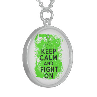 Non-Hodgkin's Lymphoma Keep Calm and Fight On Round Pendant Necklace
