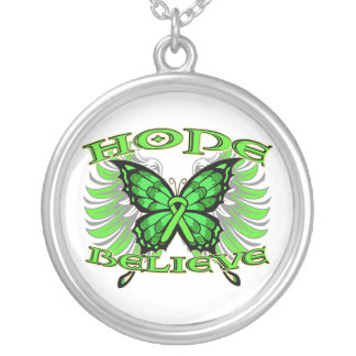 Non-Hodgkin sLymphoma Hope Believe Butterfly Round Pendant Necklace