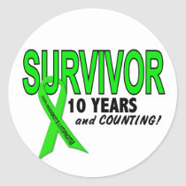 Non-Hodgkins Lymphoma 10 Year Survivor Classic Round Sticker