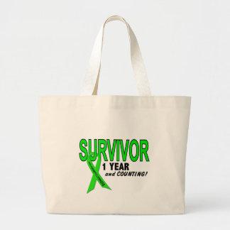 Non-Hodgkins Lymphoma 1 Year Survivor Jumbo Tote Bag