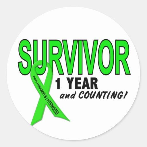 Non-Hodgkins Lymphoma 1 Year Survivor Round Stickers