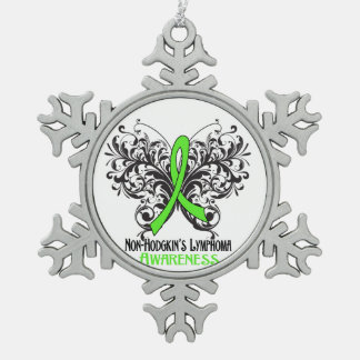 Non-Hodgkins Lymphoma Awareness Butterfly Snowflake Pewter Christmas Ornament