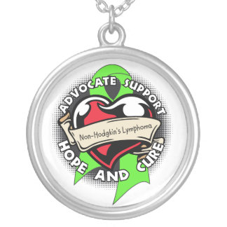 Non-Hodgkins Lymphoma Awareness Heart Ribbon Round Pendant Necklace