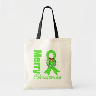 Non-Hodgkins Lymphoma Awareness Merry Christmas R Canvas Bags