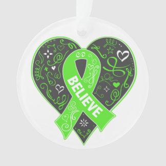 Non-Hodgkins Lymphoma Believe Ribbon Heart Ornament