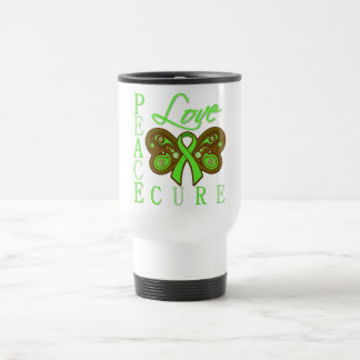 Non Hodgkin's Lymphoma Butterfly Peace Love Cure 15 Oz Stainless Steel Travel Mug