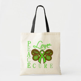 Non Hodgkin's Lymphoma Butterfly Peace Love Cure Budget Tote Bag
