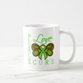 Non Hodgkin's Lymphoma Butterfly Peace Love Cure Classic White Coffee Mug