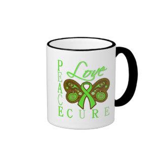 Non Hodgkin's Lymphoma Butterfly Peace Love Cure Mugs