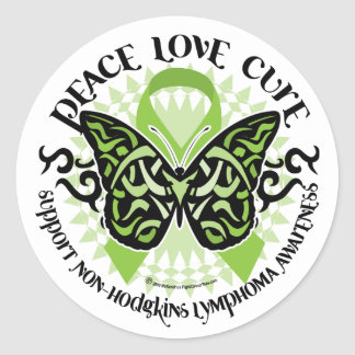 Non-Hodgkins Lymphoma Butterfly Tribal Classic Round Sticker