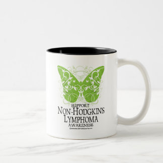 Non-Hodgkins Lymphoma Butterfly Two-Tone Coffee Mug