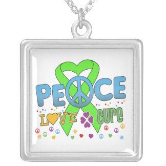 Non-Hodgkin's Lymphoma Cancer Groovy Peace Love Cu Necklace