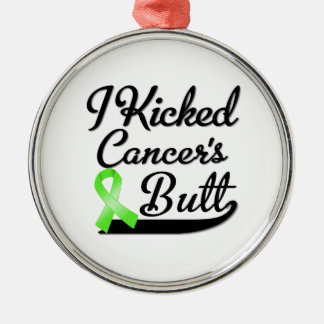 Non-Hodgkins Lymphoma Cancer I Kicked Butt Round Metal Christmas Ornament