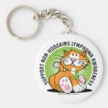 Non Hodgkins Lymphoma Cat Keychains