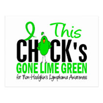 NON-HODGKINS LYMPHOMA Chick Gone Lime Green Postcard