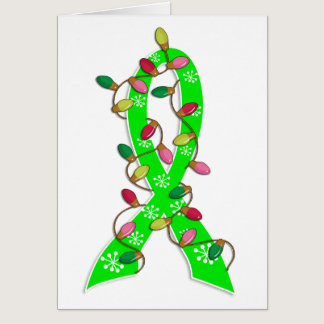 Non-Hodgkin's Lymphoma Christmas Lights Ribbon Card