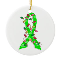 Non-Hodgkin's Lymphoma Christmas Lights Ribbon Ceramic Ornament