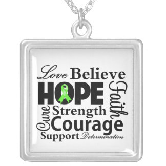 Non-Hodgkin's Lymphoma Collage of Hope Square Pendant Necklace