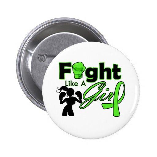 Non-Hodgkins Lymphoma Fight Like A Girl Silhouette Pinback Button