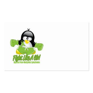 Non Hodgkin's Lymphoma Fighting Penguin Business Card