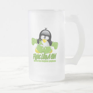 Non Hodgkin's Lymphoma Fighting Penguin Frosted Glass Beer Mug