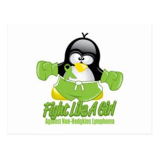 Non Hodgkin's Lymphoma Fighting Penguin Postcard