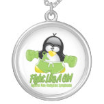 Non Hodgkin's Lymphoma Fighting Penguin Round Pendant Necklace