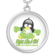 Non Hodgkin's Lymphoma Fighting Penguin Silver Plated Necklace