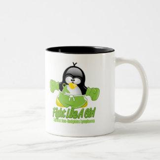 Non Hodgkin's Lymphoma Fighting Penguin Two-Tone Coffee Mug