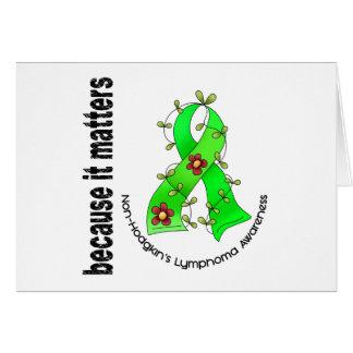 Non-Hodgkin's Lymphoma Flower Ribbon 3 Card