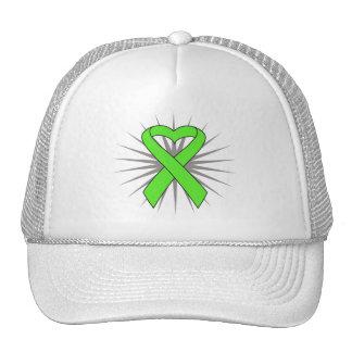Non-Hodgkins Lymphoma Heart Ribbon Mesh Hats